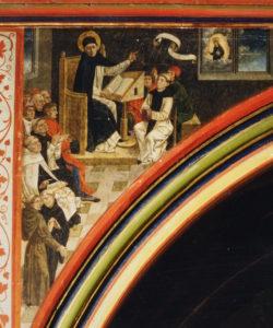 Façade du jubé, ogive de gauche, le savant Dominique enseigne à l'ambon sur la croyance mariale.