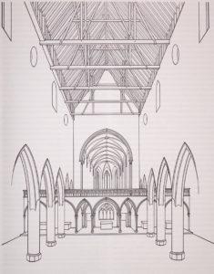 Vue reconstituée de l'interieur de l'église des Prêcheurs vers l'est